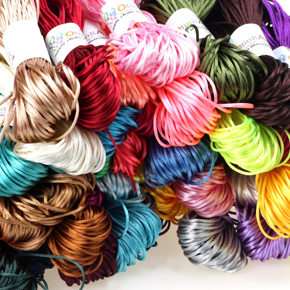 20yards/Lot 1.5mm/2.0MM Chinese Knot Line Cord Silk Satin Nylon Trim Rattail DIY Handmade Knitting String