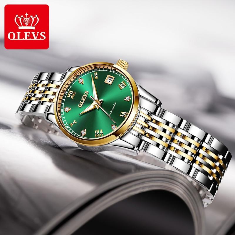 OLEVS Top Brand Mechanical Watch Women Stainless Steel Clock Fashion Wristwatches Life Waterproof Montre Femme Relogio Feminino enlarge