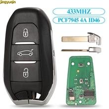 Jingyuqin inteligente keyless-go remoto chave do carro 433 mhz pcf7945 4a id46 chip para peugeot 308 408 508 5008 emergência hu83/va2 3 botões