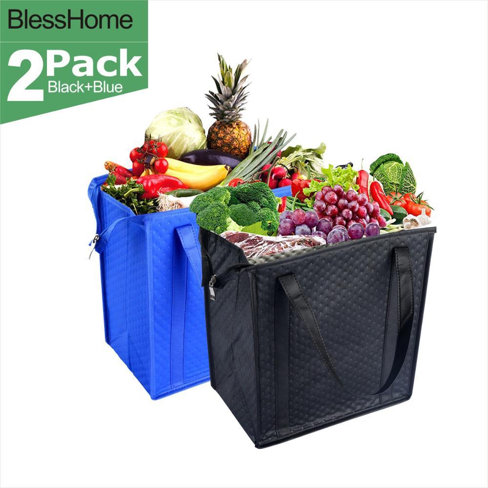 BlessHome экологически чистые большие изолированные сумки-охладители многоразовая сумка для завтрака для путешествий в автомобиле