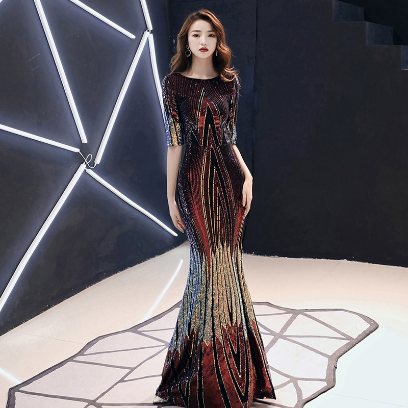 AE479 2020 New Evening Dress Long Sparkle Half Sleeve O-Neck Women Elegant Sequin Mermaid Maxi Evening Party Gown Dress