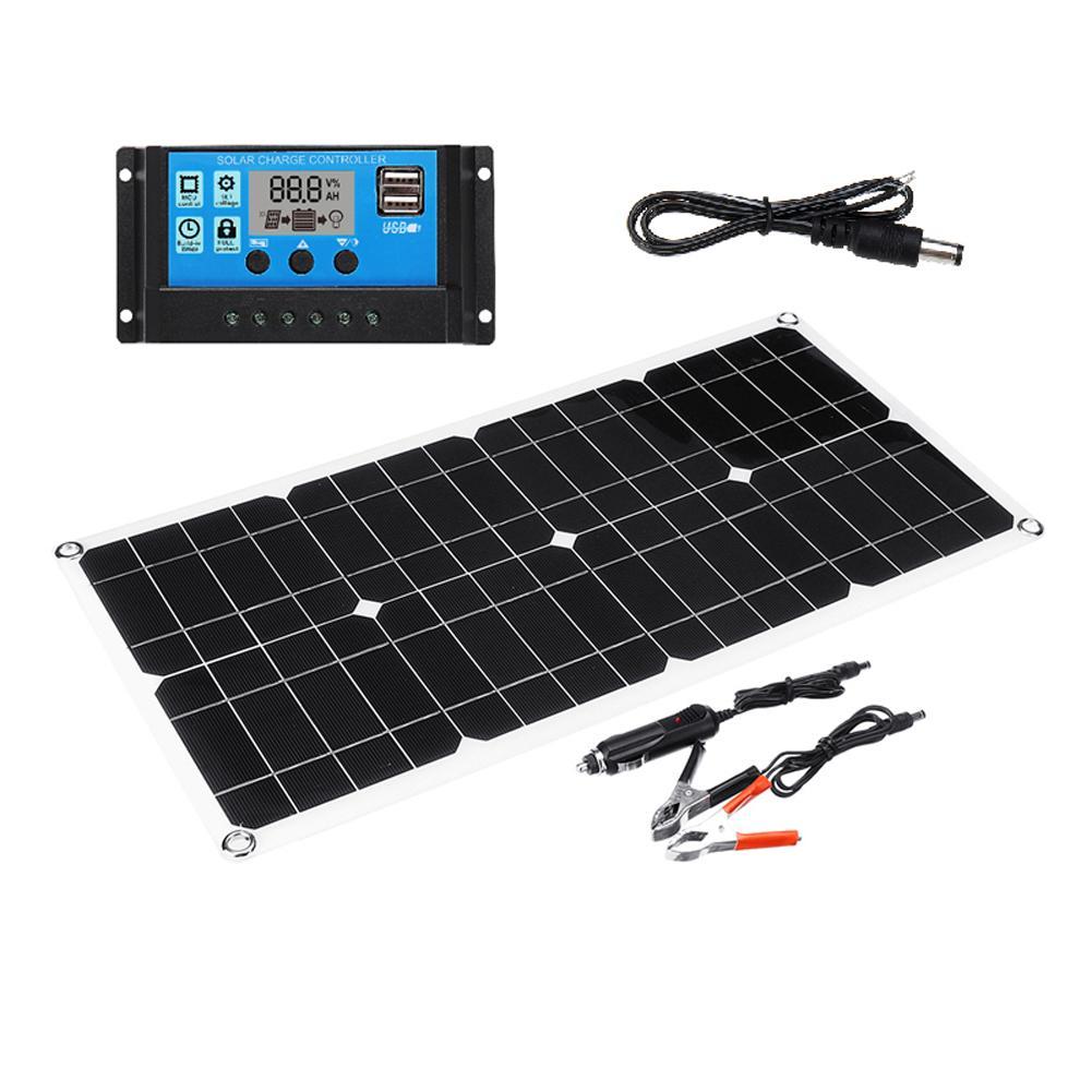لوحة طاقة شمسية مزدوجة USB مع لوحة طاقة شمسية 10A 40 واط للسيارة يخت RV مصباح شحن تستخدم لشحن الهواتف المحمولة أقراص MP3s