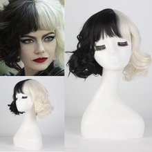 new movie Cruella Wig Half Black and White Wigs for Costume Cosplay Women Girls Short Curly  Hair  Cute Wigs for Party Halloween