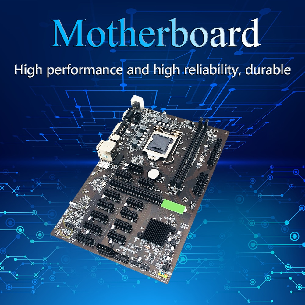 B250 BTC CPU Miner Motherboard for CPU Set 12 Video Card Slot Support LGA 1151 DDR4 Memory SATA3.0 USB3.0 Low Power Mining HOT