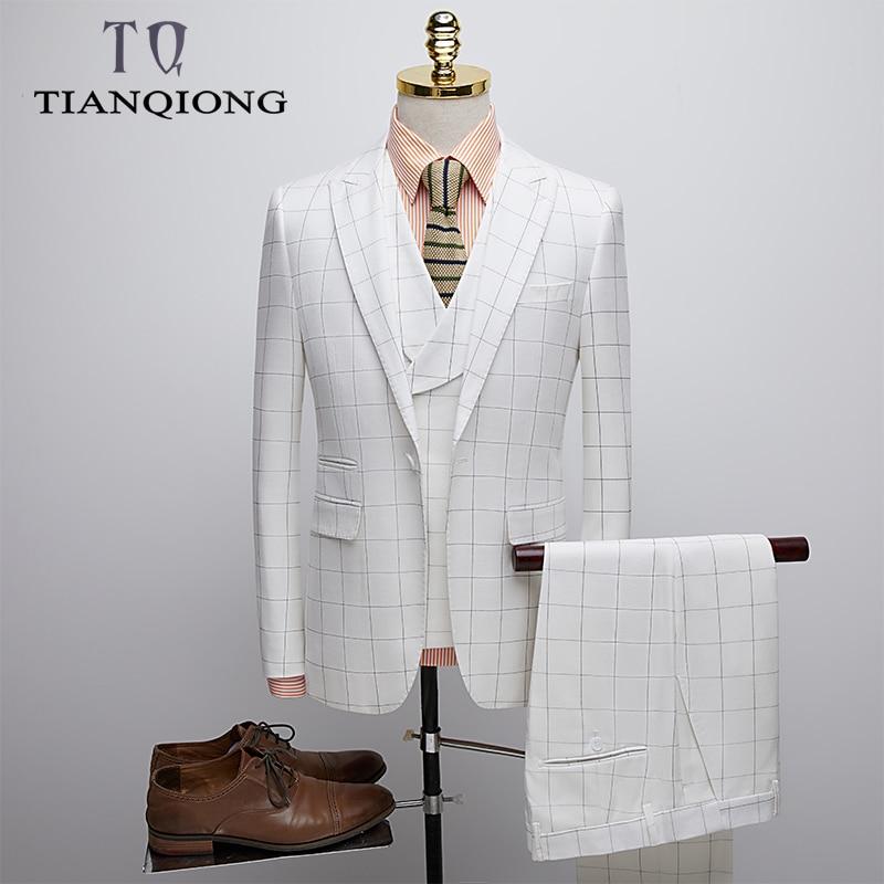 TIAN QIONG Wedding Suit for Men 2019 Slim Fit Gentlemen Costume Homme Mariage Striped Plaid Designer Mens Formal Business Suits