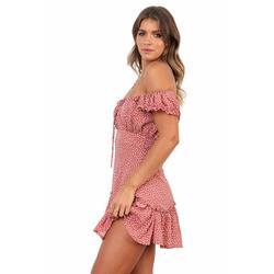 Vestido curto estilo boho feminino, de ombro fora praia vestidos de verão estampa floral vintage chiffon vestido de festa