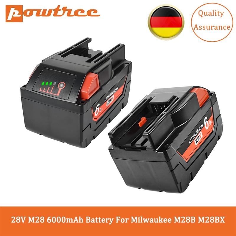 Powtree 28 فولت M28 6.0Ah بطارية ل ميلووكي بطارية بديلة من الليثيوم أيون بطارية M28B M28BX 48-11-2830 V28 أدوات كهربائية لاسلكية