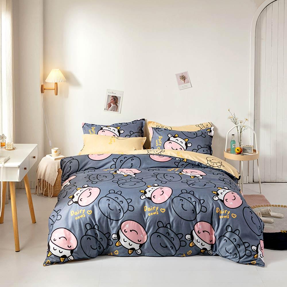 Papa & Mima-طقم أغطية سرير من الألياف الدقيقة ، مقاس كوين مفرد ، رمادي حليب البقر ، غطاء مسطح وغطاء وسادة