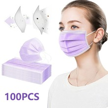100pcs Purple Good Quality Disposable 3-ply Breathable Face Ma Sk For Lips Care Ear Loops Disposable