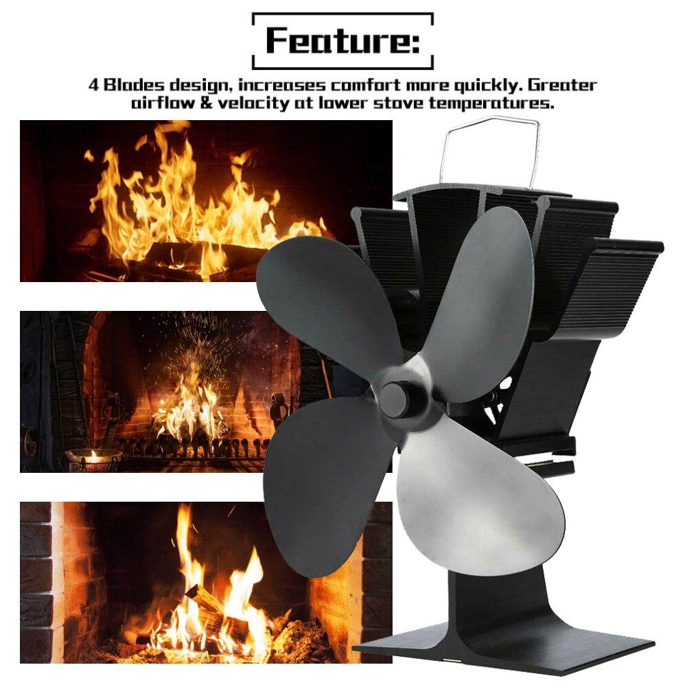 موقد أسود 4 شفرات تعمل بالطاقة الحرارية موقد مروحة سجل الخشب الموقد الصامت المنزل الموقد مروحة كفاءة توزيع الحرارة