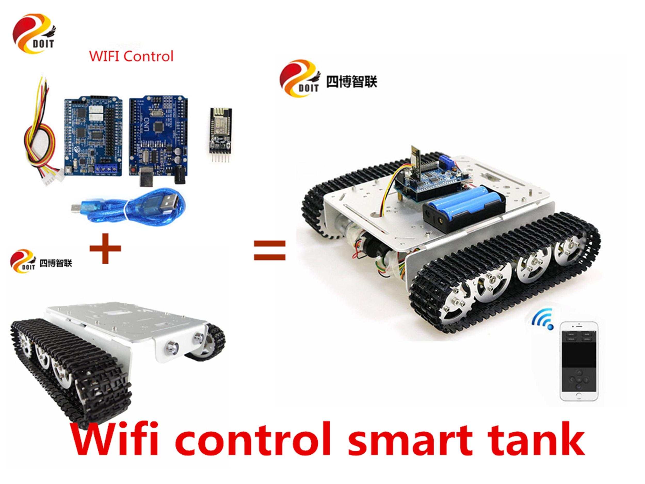 SZDOIT Wifi/Bluetooth/Control de manija T200 Kit de chasis de tanque inteligente de Metal RC seguimiento robotizado educativo DIY para Arduino 12V motores