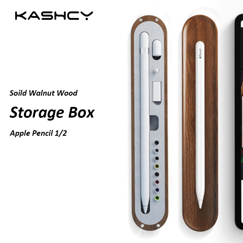 KASHCY Sólida Madeira de Nogueira caixa de Lápis Caixa De Armazenamento De acessórios Bandeja de Lápis Maçã 1/2 geração