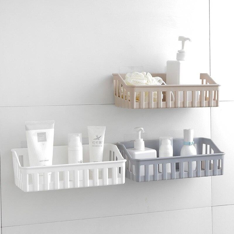 Estante de baño de drenaje de plástico, estante de almacenamiento adhesivo para...