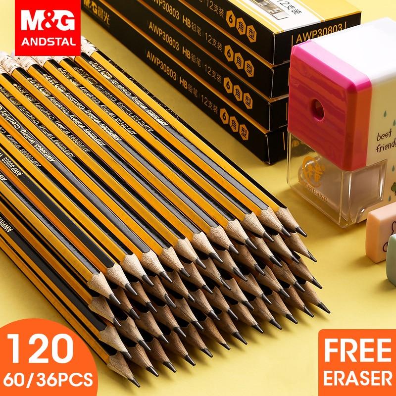 M & G 36/60/120 Uds lápiz amarillo HB lápices de madera escuela lápices con goma hexagonal de madera juego de lápices de dibujo de grafito