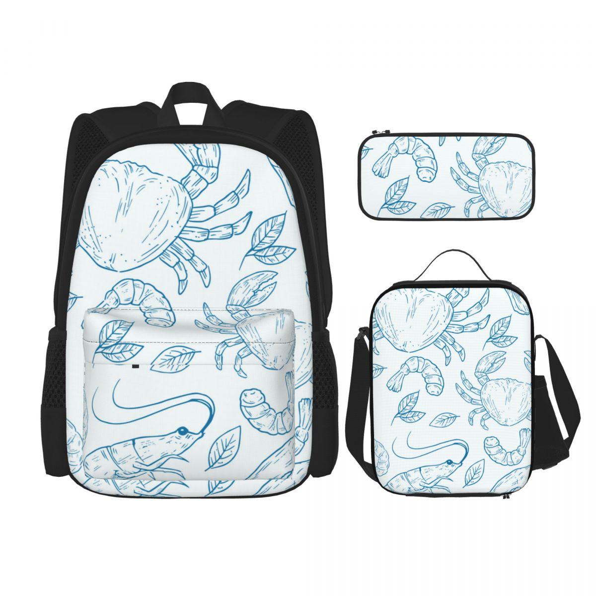 الأزرق الأسماك الطبيعية جراد البحر طباعة طاقم حقائب مدرسية للمراهقين الفتيات الفتيان طالب السفر حقيبة كتب أطفال Mochila