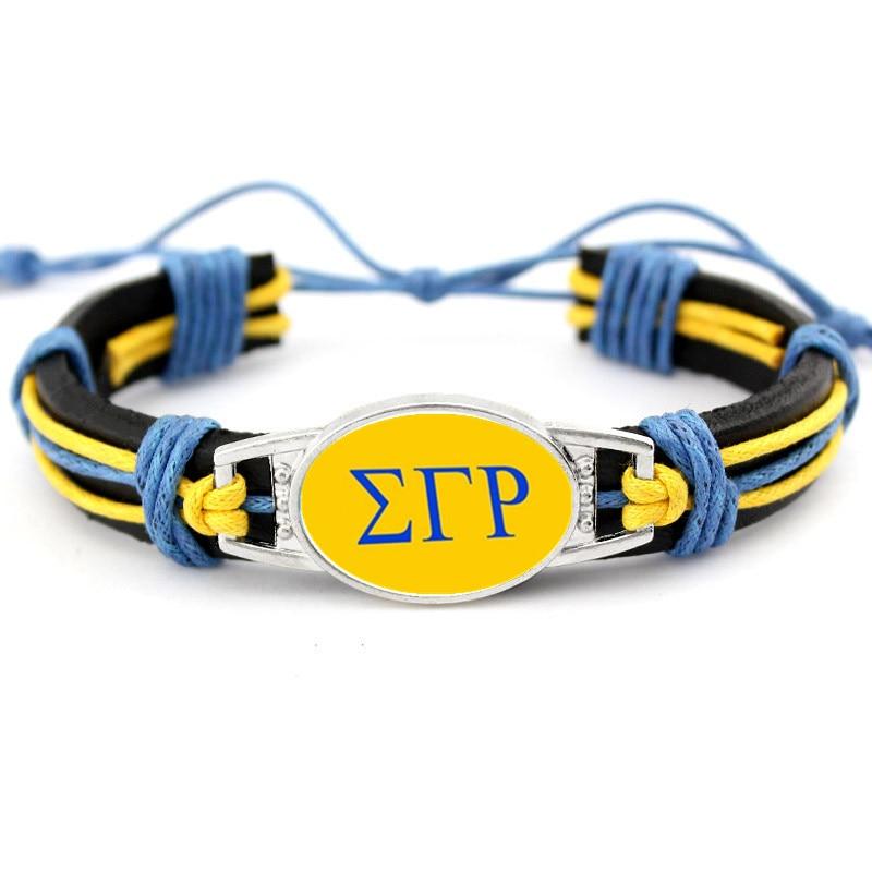 Grécia grego sgr fraternidade sigma gamma rho fraternidade 18*25mm vidro charme ajustável pulseiras de couro & bangles para o homem mulher
