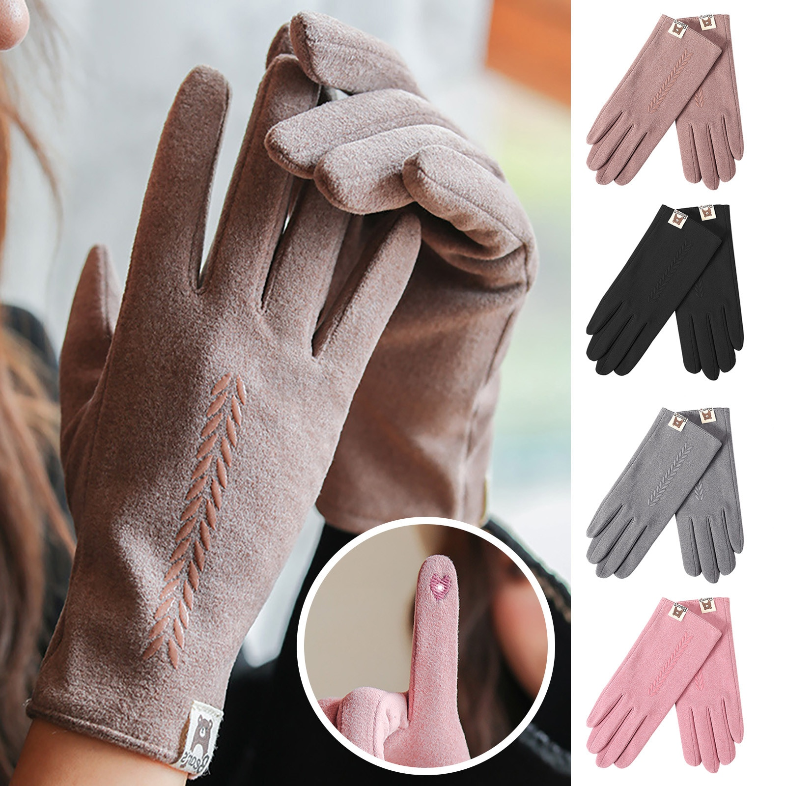 Fashion Women Winter Outdoor Plus velvet Thicken Keep Warm Casual Windproof Gloves Sweet and lovely, warm comfortable перчатки
