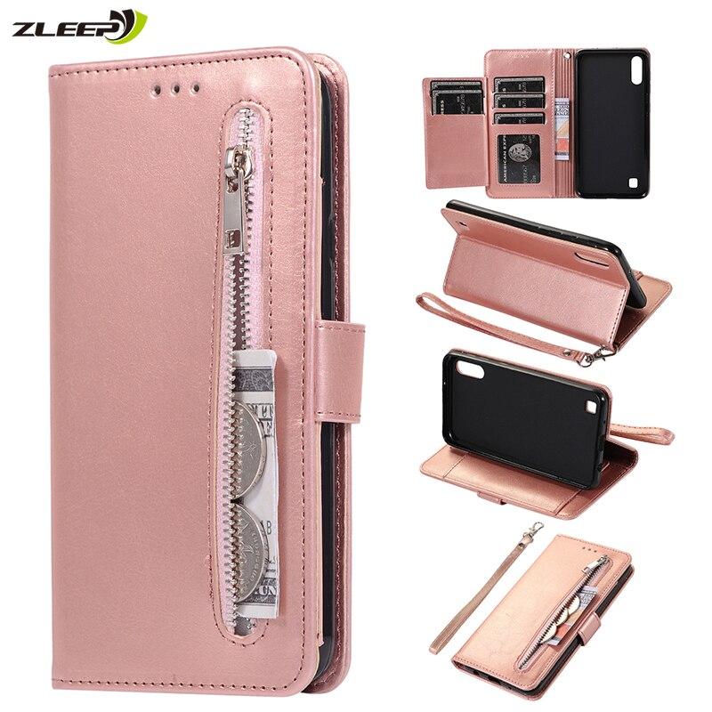 Funda monedero de cuero con cremallera Etui A70 A50 A10 A20 para Samsung Galaxy A20E A30 A40 M10 M20 M30 A2 Core, funda para teléfono