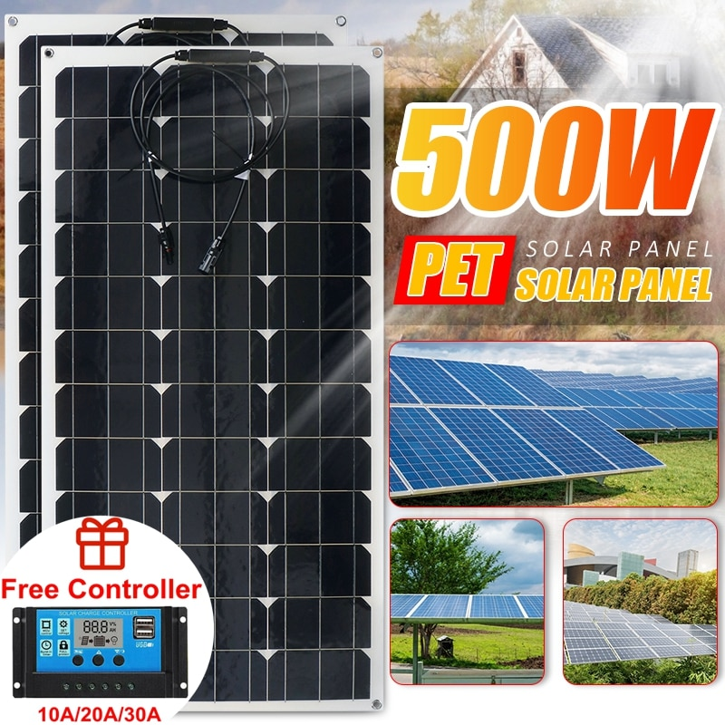 Solar System 500W 250W 18V Solar Panel Power Bank Car Battery Solar Charger Solar Panel Kit Complete For Home Outdoor Camping RV