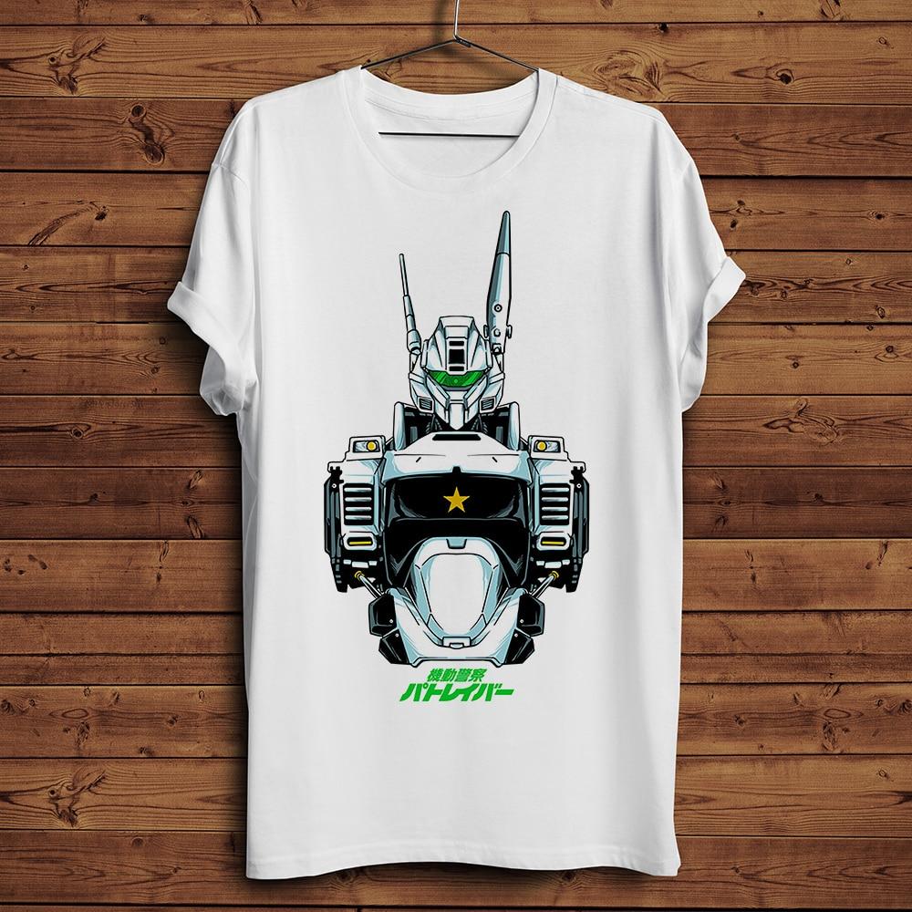 Camiseta de acción de la policía móvil, divertida camiseta de anime japonés para hombre, novedad de verano, camiseta de manga fresca informal blanca para hombre