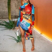 womens art color print asymmetrical dress round neck long sleeves bohemian style robe party night clubwear