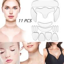 11pcs/Set Reusable  Neck Women Silicone Moisturizing Skin Care Anti-Wrinkle Sticker Set Wrinkle Remo