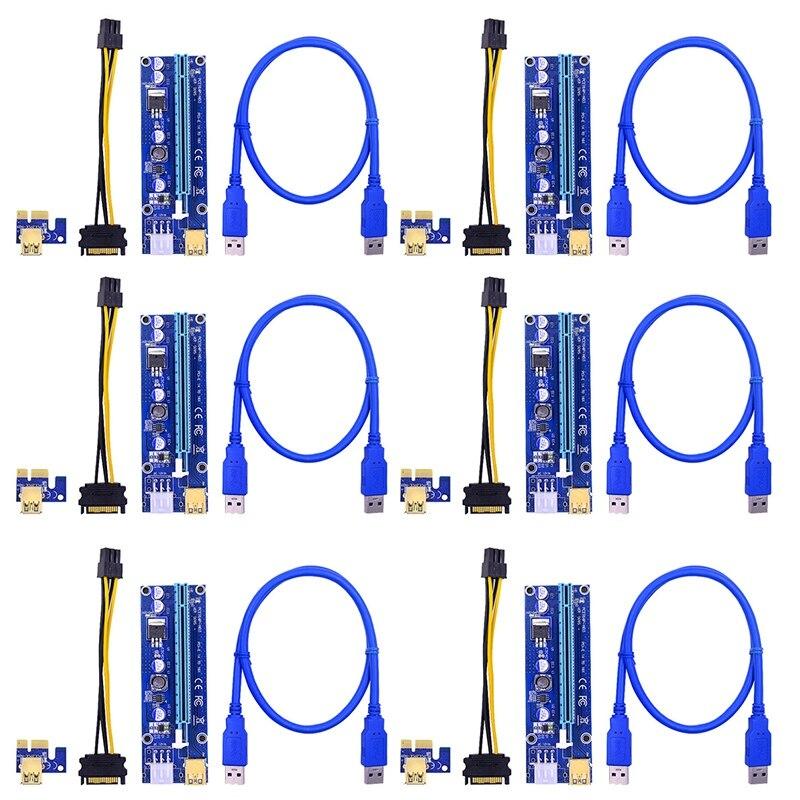 Golden VER009 PCI-E Riser VER 009S Express 1X 4x 8x 16x ، محول رافع بطاقة SATA 15pin إلى 6 سنون ، USB 3.0 ، 6 قطعة