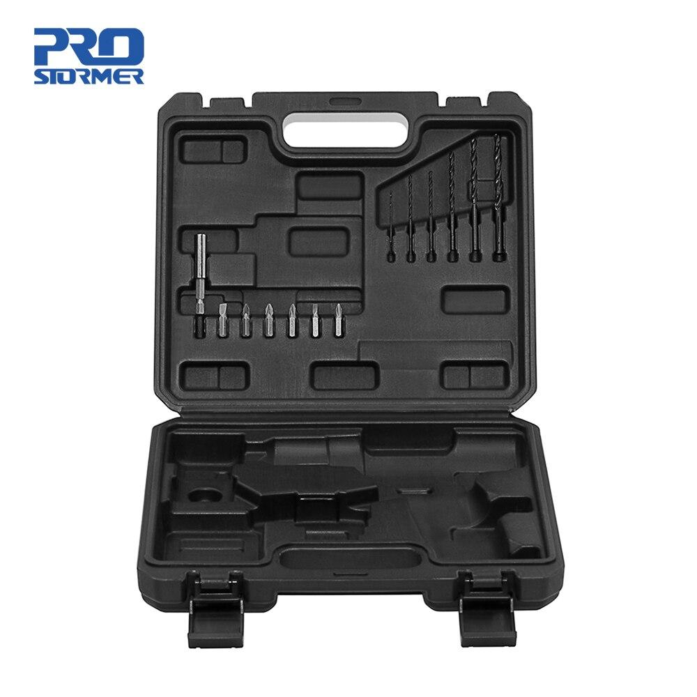 Caja de herramientas de plástico PROSTORMER BMC, funda para Taladro Inalámbrico de 12V/destornillador/llave incluye 13 brocas de destornillador no incluye Taladro