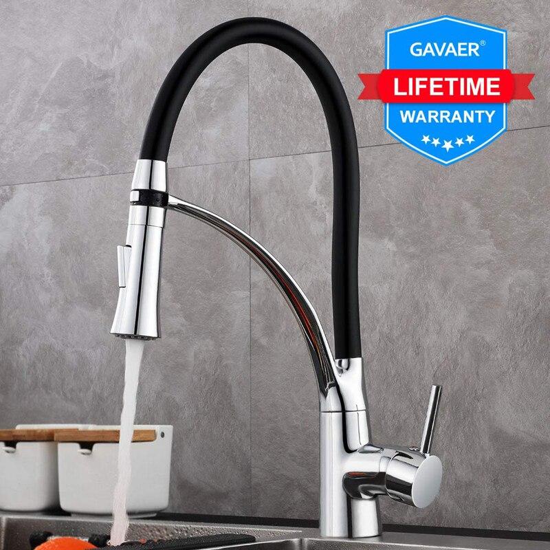 Gavaer torneiras de borracha design cromado torneira misturadora torneiras único punho pull down deck pias rotação torneira da cozinha moderna