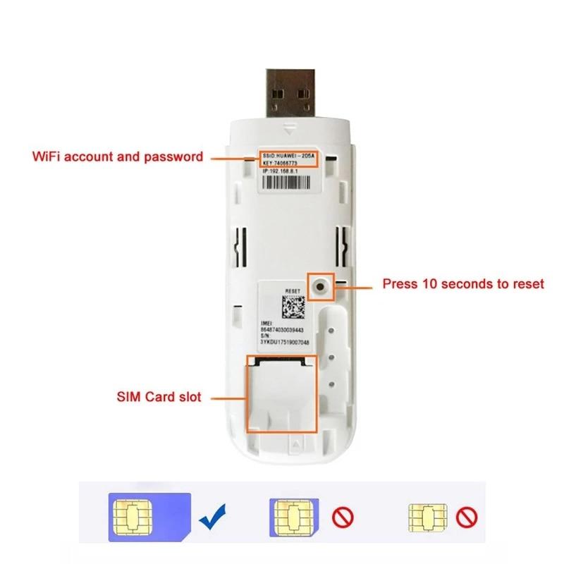 Unlocked Huawei E8372h-155 USB WiFi Modem 4G 150Mbps LTE FDD Band 1/3/5/7/8/20 TDD Band 38/40/41 3G Mobile USB Dongle