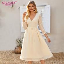 S.FLAVOR Elegant V-neck Chiffon Vestidos De For Women Bohemian Style Slim Party Midi Dress Summer A-line Dresses 2020