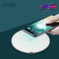 aikswe qi wireless charger for iphone 12 11 pro 8 x xr xs max 15w fast wireless charging for samsung note9 8 s10 s9 charger pad