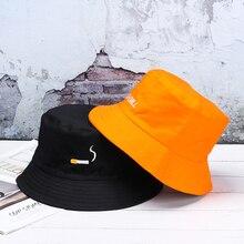 Recién llegado, sombrero de pescador con bordado de cigarrillo, sombrero Casual Unisex de estilo Hip Hop, sombrero de pescador, moda sencilla, sombrero plano de algodón 1 pieza