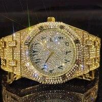missfox full diamond gold man watch quartz arabic numerals luxury wristwatch men rich gentleman fashion rel%c3%b3gio masculino gift