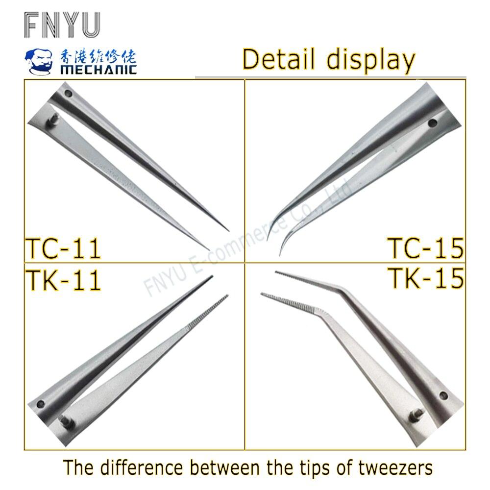 Купить с кэшбэком MECHANIC Maintenance Chip Tin Planting Tweezers T Series Tin Planting Tweezers Repair Press Mesh Titanium Alloy Tweezers
