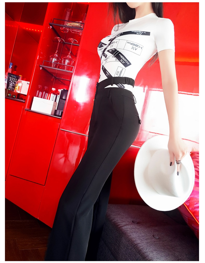new summer and autumn office lady Fashion casual brand female women girls black straight pants
