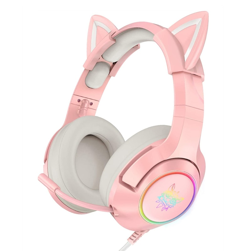 جديد وصول LED القط الأذن سماعات الألعاب سماعة الوردي 7.1 ستيريو الصوت للإزالة القط الأذن السلكية سماعات رأس للألعاب مع هيئة التصنيع العسكري