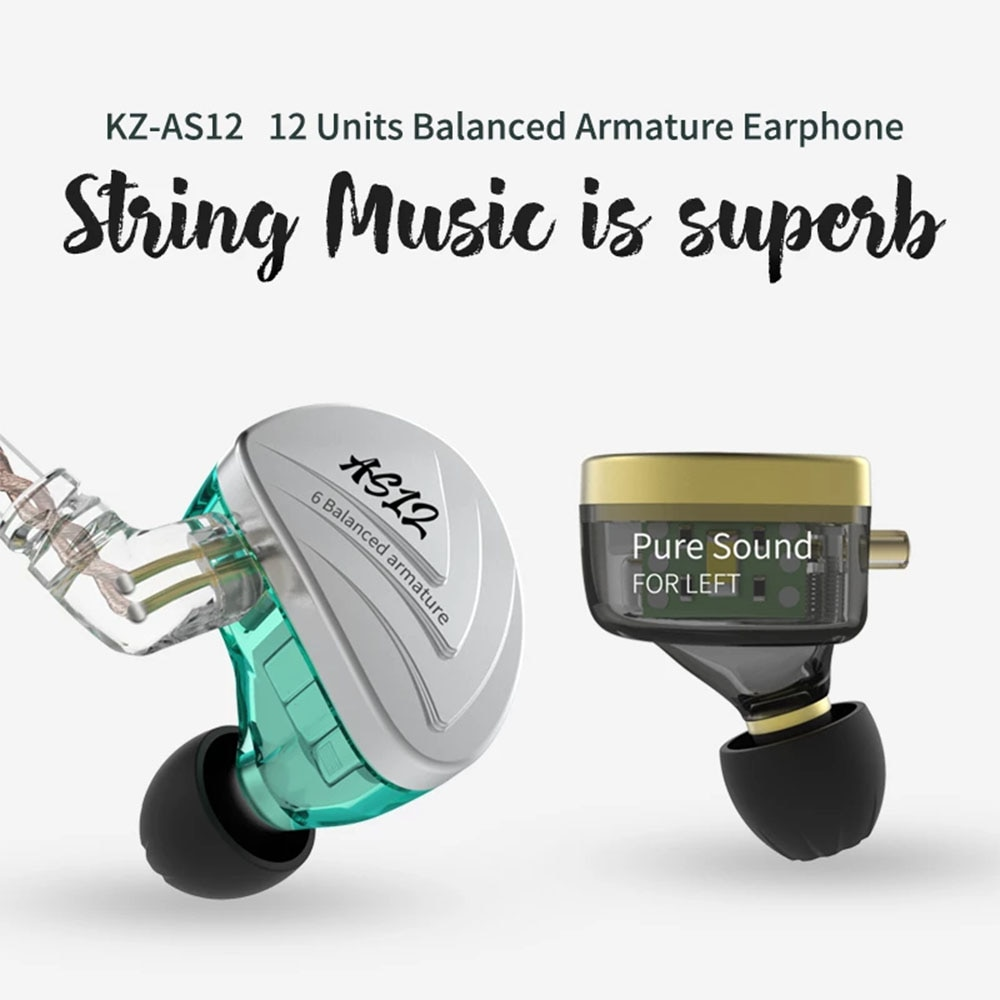 KZ AS12 HIFI Bass In Ear Headset Noise Cancelling Earbuds With/No Microphone Stereo Sport Earphones enlarge