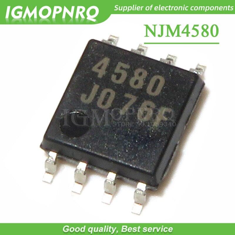 50PCS NJM4580M NJM4580 4580 SOP-8 IC dual op amp geruisloze audio versterker IC chip Nieuwe Originele
