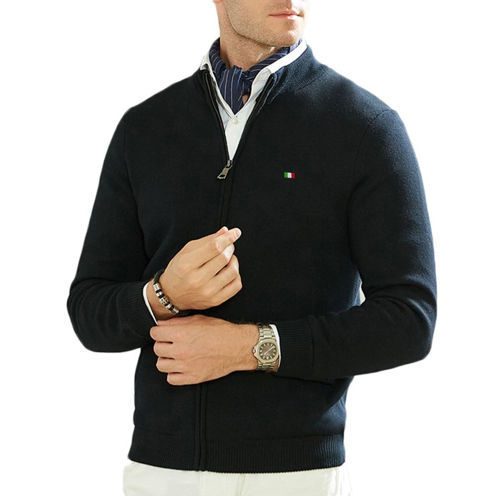 عالية الجودة 100% القطن الخريف الرجال التلبيب بأكمام طويلة سستة سترة ملابس محبوك غير رسمية سميكة معاطف موضة الرجال أفضل 3XL