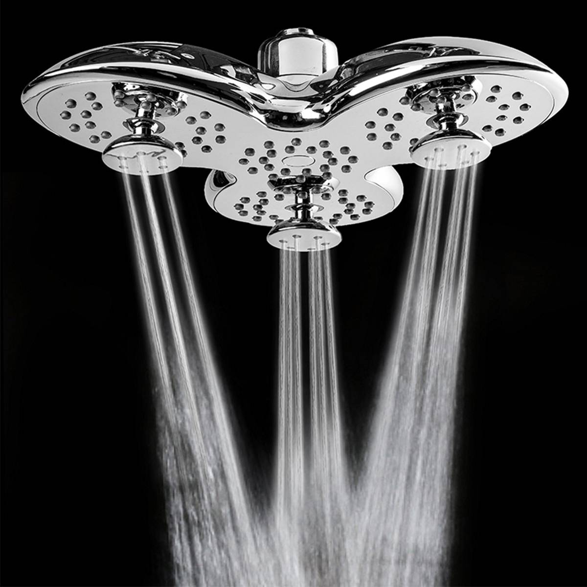 Bathroom Top Shower Head Petal Shape 3 Functions Modes Pressure Nozzle Rainfall Jetting Spa Abs Chrome Adjustable
