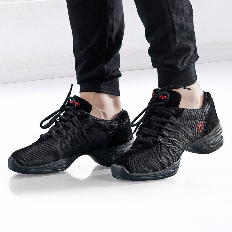 Zapatillas de baile moderno negro, zapatos de Jazz para gimnasia, zapatos de baile de gamuza de malla suave, zapatillas de entrenamiento