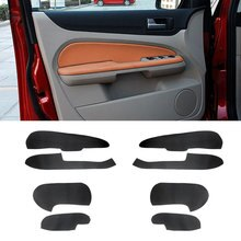 For Ford Focus 2005 2006 2007 2008  4pcs Microfiber Leather Car Interior Door Handle Armrest / Doors Panel Cover Inner Trim