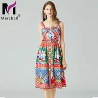 summer vintage women spaghetti strap backless high waist flower print midi dress 2021 holiday runway boho beach vestidos m7417