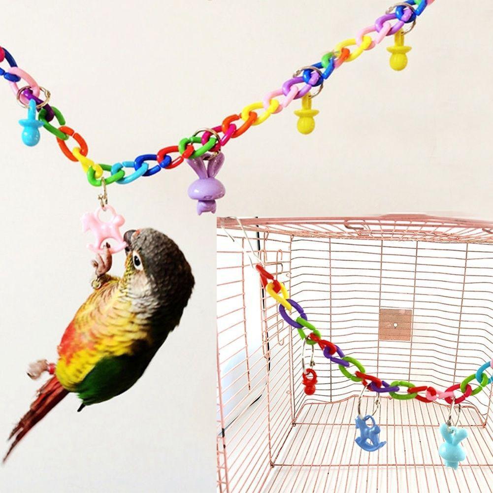 Jaula Columpio de ave de juguete colorida Kuulee, juguete de escalada para periquito, cacatúa, cotorra Lovebird de 35cm