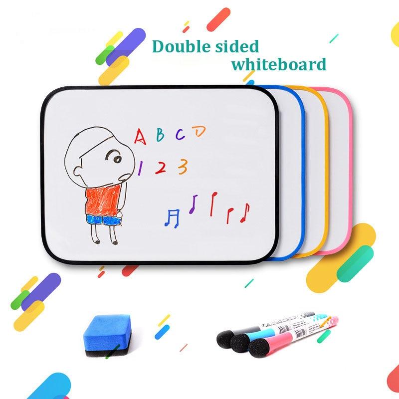 Двухсторонняя белая доска Размера A3, доска для сухого стирания, детская доска для рисования и письма, обучающая тренировочная доска с силик...