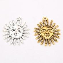 6pcs/lot Retro Sun Metal Pendant DIY Necklace Bracelet Charm Jewelry Handicraft Accessories Findings 35*29mm P25