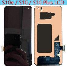 SUPER AMOLED S10e LCD do Samsung Galaxy S10 Plus wyświetlacz LCD ekran dotykowy do Galaxy S10 G973F G975/DS G975F LCD z czarną kropką
