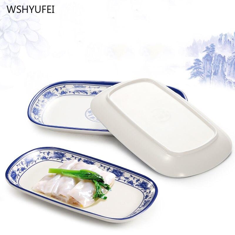 Porcelana azul y blanca diseño exquisito porcelana de imitación no es fácil de romper suministros rectangulares de cocina de restaurante