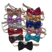 lovely sequin pets grooming accessories cute dog puppy cat kitten pet toy kid solid bow tie necktie clothes cat dog necktie